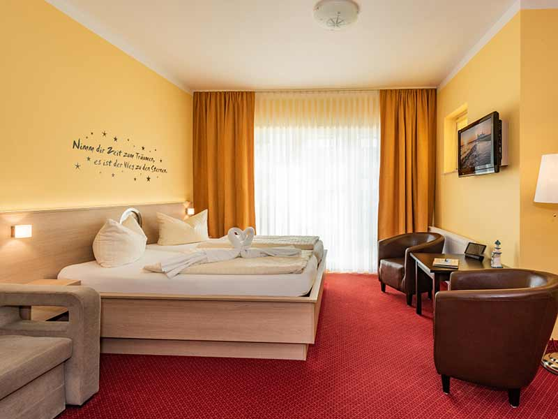 Hotel Strandhus Herrgott Schlafzimmer Doppelbett